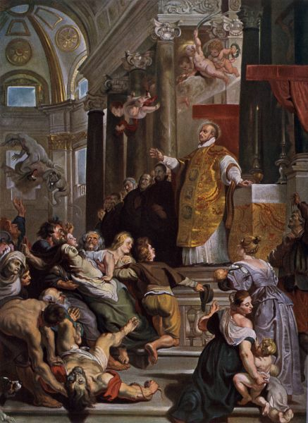 Ignatius of Loyola casting out evil spirits. Printed color halftone reproduction of a painting by Rubens