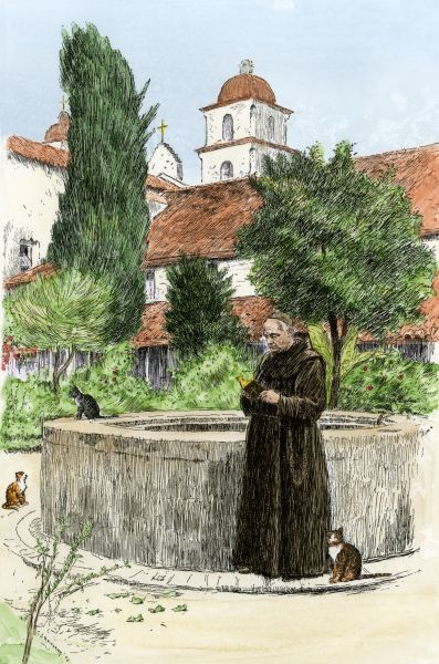 Padre in the garden at Santa Barbara Mission, California, 1800s. Hand-colored woodcut of a 19th-century illustration