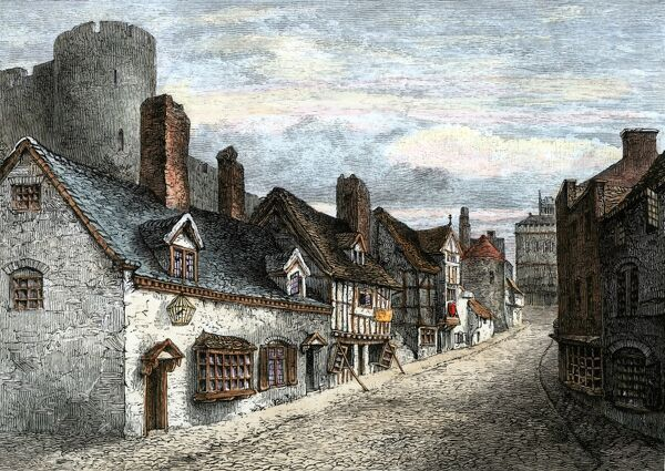 Shrewsbury England In The 1500s Street Of Castle Gate