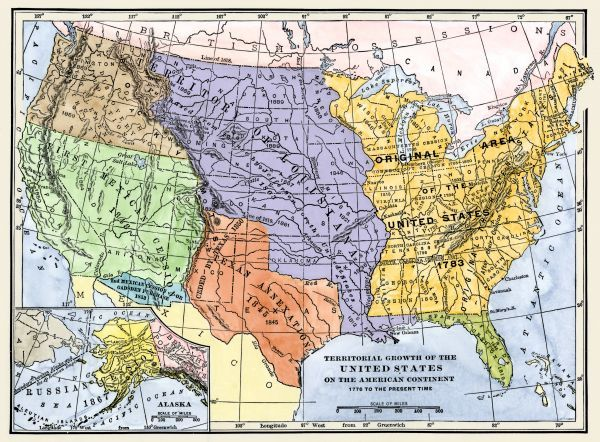US territorial acquisition during the 1800s - Map showiing the ...