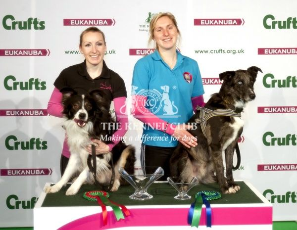 Picture shows Agility Kennel Club Novice Cup Final (Large) 1st and 2nd place Helen Anderson with dog Delanor Dark Agent and Connie Sellers with her dog the Huntstowm Flyer (Thursday 05.03.15), the first day of Crufts 2015, at the NEC Birmingham