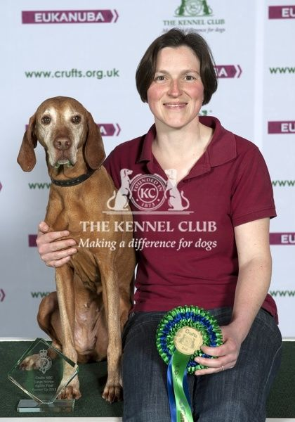 Picture shows Jo Sampson from Sussex with Kira a hungarian Visla who came second in the large agility in the main arena today (Friday 06.03.15), the second day of Crufts 2015, at the NEC Birmingham