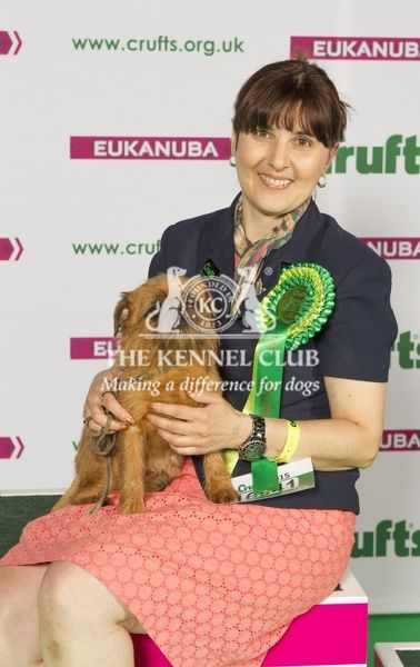 Picture shows Michelle Swinge from Hockley with Roxy a Griffon Bruxellois, which was the Best of Breed winner today (Sunday 08.03.15), the fourth day of Crufts 2015, at the NEC Birmingham