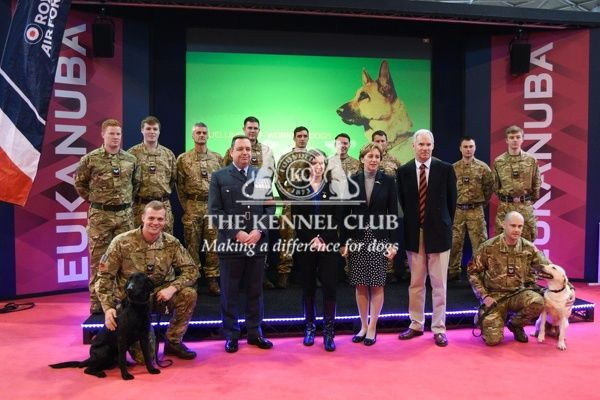 Crufts 2016. RAF team, dogs and the Air Chief Marshal Sir Andrew Pulford