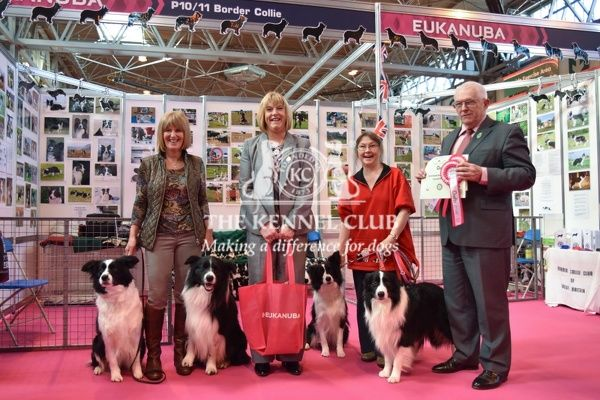 Best of Breed Booth Competition:   Winner for the Pastoral group and overall runner-up: Border Collie.   In photo from stand: Anita Gowing.   Judge: Dr. Ron James