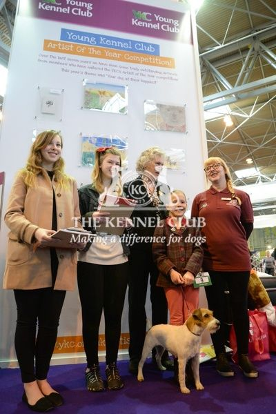 YKC Artist of the Year at the YKC stand:   Winner (age 16-24): Hannah Gates;   Winner (age 12-16): Amelie Barrable;   Winner (age 6-11) and overall winner: Jessica Smith (in photo with dog Zara)