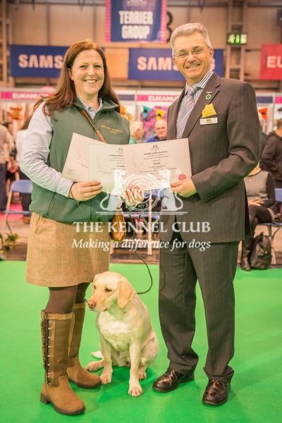 Paul Rawlings, Chairman of the Working Gundog Certificate Working Party awards a certificate to Mrs Megan Borthwick for her dogs Kakabel Luna and Solo Talula Tazmin