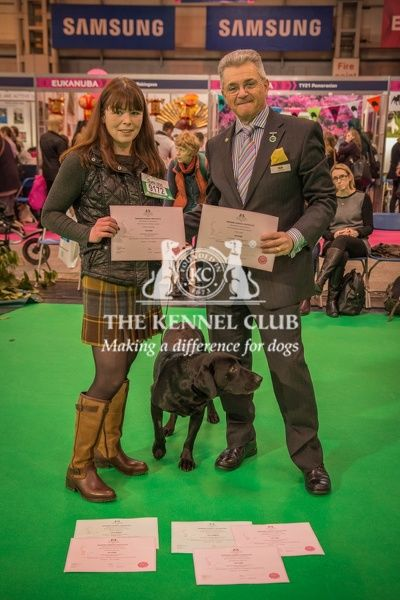 Paul Rawlings, Chairman of the Working Gundog Certificate Working Party awards certificates to Mrs Ali Scott for her dogs Eshiels Danny Boy, Katie Cassy, Pride of Suzanne, Anax Imperator and Macgiriaght Shieflen