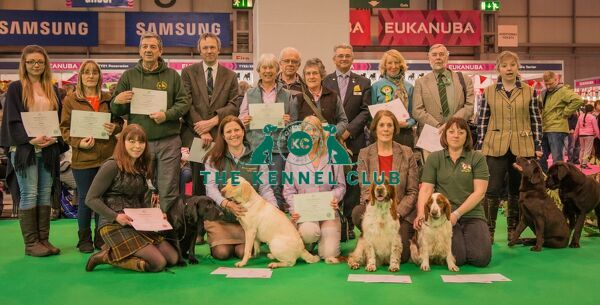 working gundog certificate presentation   Image shows Paul Rawlings and all handlers who received the working gundog certicate at Crufts 2016 (except Janet Williams)