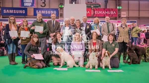 Image shows Paul Rawlings and all handlers who received the working gundog certicate at Crufts 2016 (except Janet Williams)