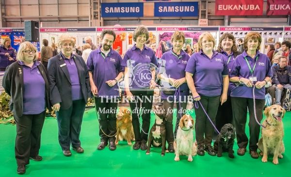 he Rally Team display in the Dog Activities Ring on Day 2 of Crufts 2016   Left to Right   Julie Barratt (Judge)   Flo Williams (Judge)   Tony and Cassie (Nova Scotia Duck Tolling Retriever)   Susan and Ollie (Staffordshire Bull Terrier)   Sue and Milly
