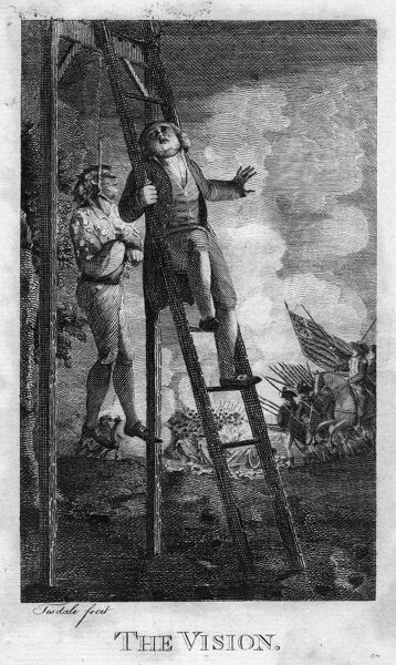 AMERICAN REVOLUTION, c1775.   'The Vision.' Engraving by Elkanah Tisdale, 1795, for John Trumbull's epic poem, 'M'Fingal,' first published in 1775