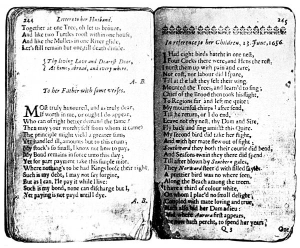 ANNE BRADSTREET POEMS.  Two pages of Bradstreet's 'Poems,' Boston, 1678
