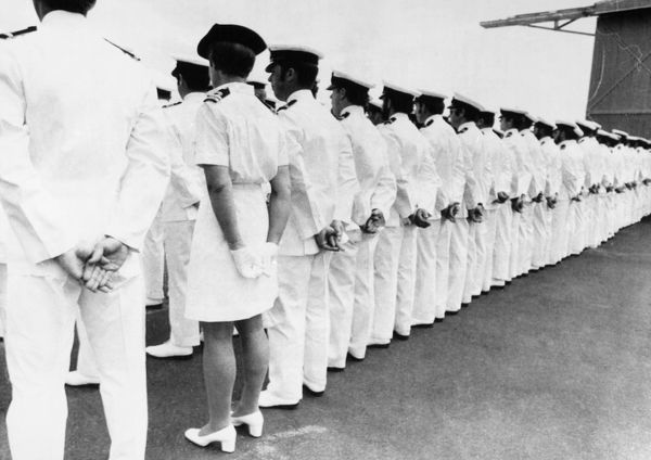 AUSTRALIA: WOMAN SAILOR.  Senior nurse Iris Jones on parade with other officers of the Royal Australian Navy Air Station at Nowra, December 1974