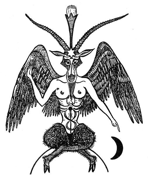 BASPHOMET.   'Bouc de la gotie Basphomet,' the goat incarnation of the Devil. Drawing from a French occult manuscript, 19th century