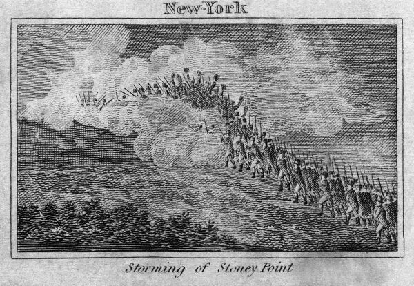 BATTLE OF STONY POINT, 1779.   Continental Army soldiers under General Anthony Wayne surprising and capturing the British garrison at Stony Point, New York, on 16 July 1779. Wood engraving, early 19th century