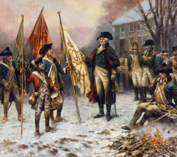 BATTLE OF TRENTON, 1776.   General George Washington inspecting the captured British flags after the Battle of Trenton, 26 December 1776. Lithograph by Percy Moran, c1914