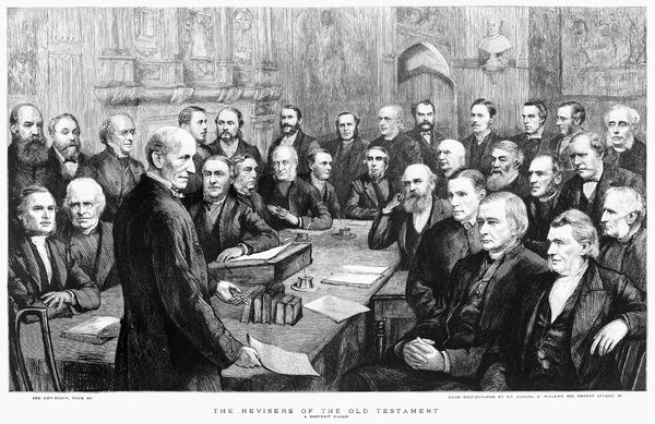 BIBLE REVISERS, 1885.   Group portrait of the British scholars who revised the Old Testament of the Revised Version of the King James Bible, 1885.   Contemporary English engraving