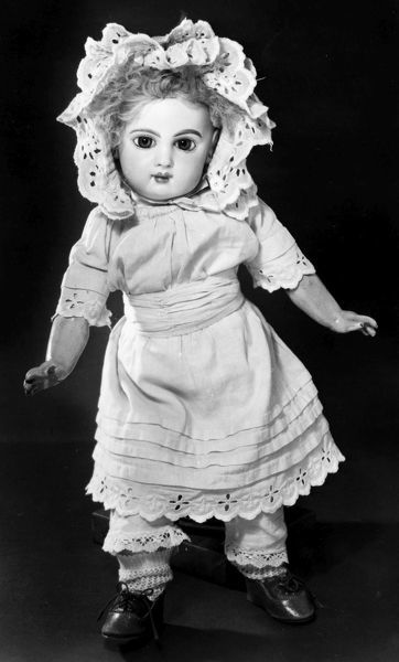 BISQUE DOLL, c1890.  Bisque doll with a jointed composition body, made by Emile Jumeau, French, c1890