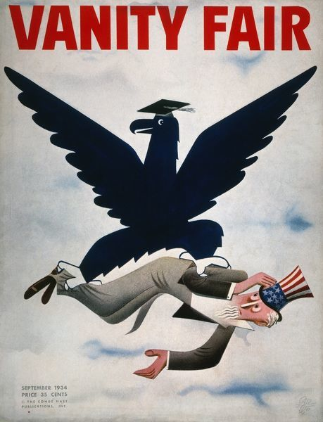 MAGAZINE: NEW DEAL, 1934.  The blue eagle of the N.R.A. rescuing Uncle Sam from the Great Depression. American magazine cover, 1934