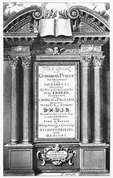 BOOK OF COMMON PRAYER.   Title page of a 1662 edition of the 'Book of Common Prayer,' engraved by David Loggan