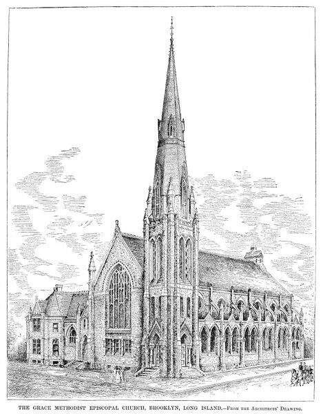 BROOKLYN: CHURCH, 1883.   The Grace Methodist Episcopal Church in Brooklyn, New York. Engraving, American, 1883