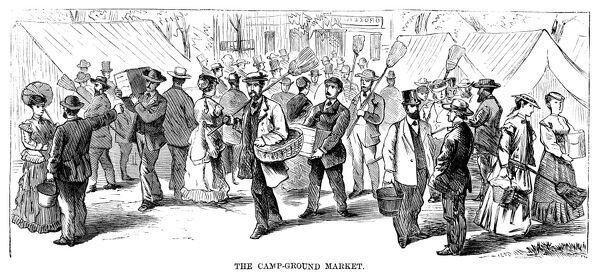 CAMP MEETING, 1869.   The campground market at the national Methodist camp meeting, 6-15 July 1869, at Round Lake, New York. Contemporary American wood engraving
