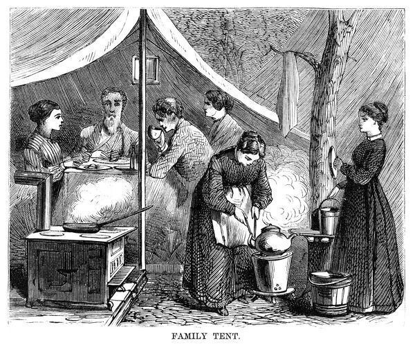 CAMP MEETING, 1869.   A family tent at the national Methodist camp meeting, 6-15 July 1869, at Round Lake, New York. Contemporary American wood engraving