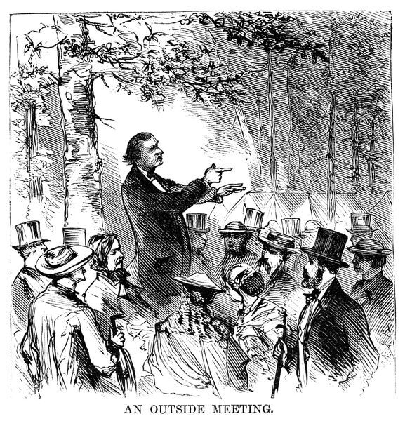 CAMP MEETING, 1869.   An outdoor preacher at the national Methodist camp meeting, 6-15 July 1869, at Round Lake, New York. Contemporary American wood engraving