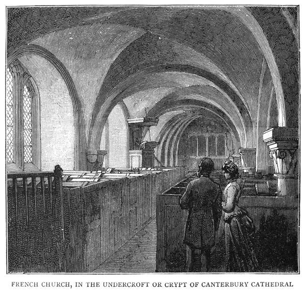 CANTERBURY CATHEDRAL, 1885.   French church in the crypt of Canterbury Cathedral. Engraving, English, 1885