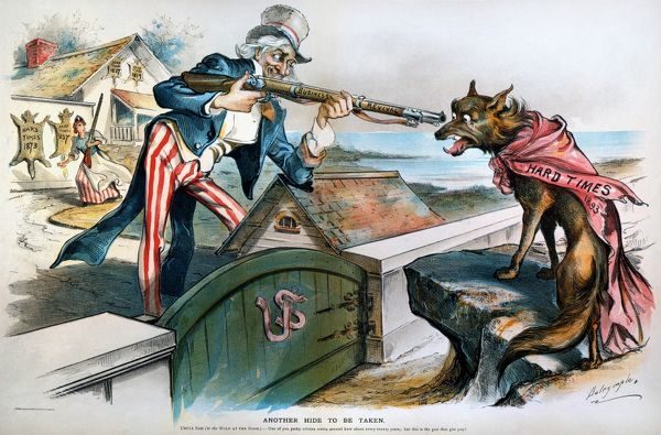 CARTOON: PANIC OF 1893.  An 1894 American cartoon by Louis Dalrymple on the business recovery following the Panic of 1893