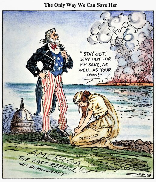 CARTOON: U.S. INTERVENTION.  The Only Way We Can Save Her [Democracy]: American cartoon, 1939, by Carey Orr against U.S. intervention in European wars