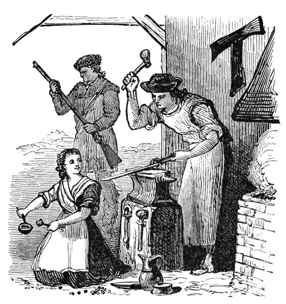 COLONIAL BLACKSMITH.  A colonial American blacksmith forges weapons at the outbreak of the Revoutionary War. Wood engraving, American, 19th century