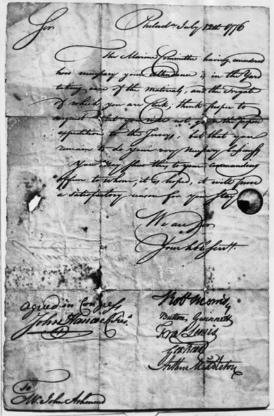 CONGRESSIONAL DOCUMENT, 1776.   Congressional document ordering John Ashmead, clerk of the frigate 'Randolph' to stay on board while the rest of his crew went on an expedition. Signed by John Hancock, Robert Morris, Button Gwinness, Francis Lewis