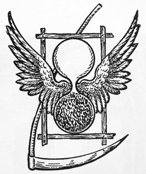 death 17th century the winged hourglass and scythe which symbolize Gold Hourglass the winged hourglass and scythe which symbolize the flight of time