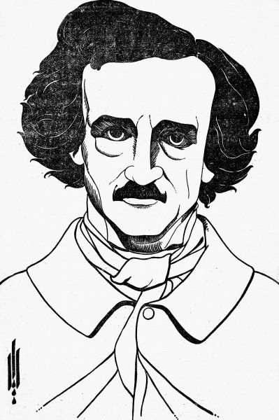 EDGAR ALLAN POE (1809-1849).  American writer. Drawing by Aubrey Beardsley