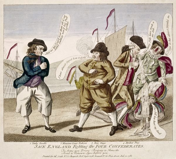 ENGLAND'S WAR, 1781.   'Jack England fighting the four Confederates.' English cartoon, 1781, depicting Jack England taking a stand against his adversaries, from left: the Netherlands,   France, Spain, and, on the ground, the United States of America
