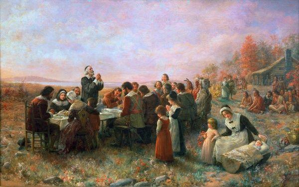 THE FIRST THANKSGIVING  At Plymouth, Massachusetts. Oil on canvas, 1914, by Jennie A. Brownscombe