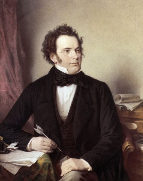 FRANZ SCHUBERT (1797-1828).  Austrian composer. Oil, 1875, by W.A. Rieder