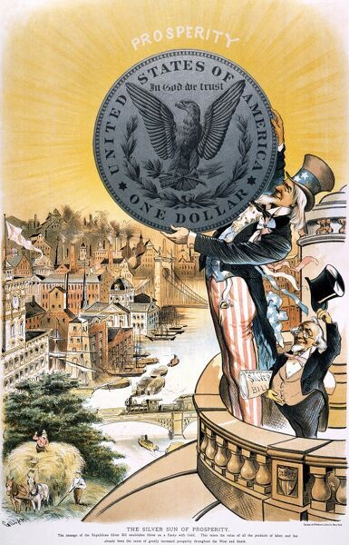FREE SILVER CARTOON, 1890.  'The Silver Sun of Prosperity.' American cartoon, 1890, by Bernard Gillam hailing the enactment of the Sherman Silver Purchase Act