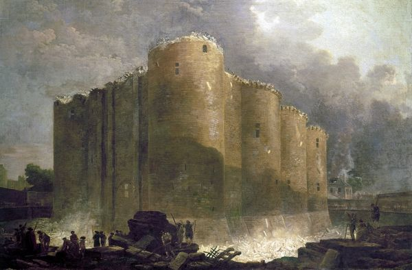 FRENCH REVOLUTION, 1789.  The demolition of the Bastille in Paris, summer 1789. Contemporary oil on canvas by Huber Robert