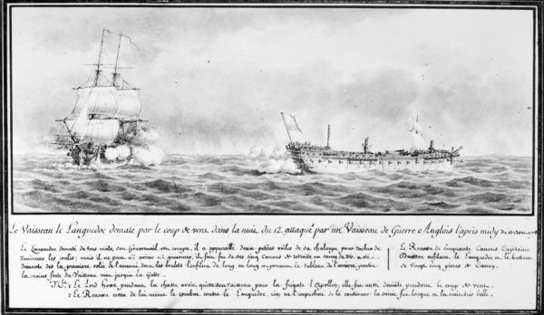 FRENCH SQUADRON, 1778.   French warship 'Languedoc,' part of the naval squadron under the command of Comte d'Estaing sent to aid the American cause, with masts broken from a storm, under attack from a British warship, 13 August 1778