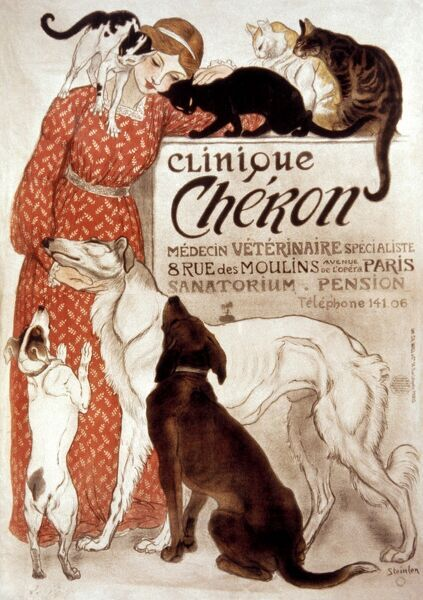 FRENCH VETERINARY CLINIC.  Lithograph advertising poster, 1894, for Paris veterinary clinic by Theophile Alexandre Steinlen