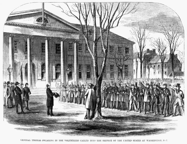 Harpers Weekly 1861 General Thomas Swearing In The 12320648
