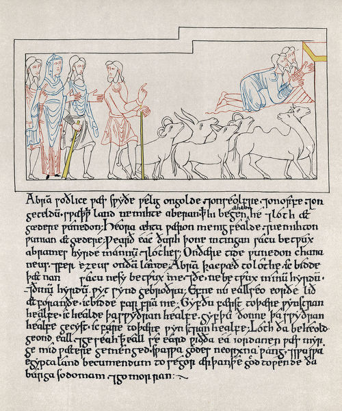 HEXATEUCH, 11th CENTURY.   Page from the Old English translation of the Hexateuch, by Aelfric of Eynsham, 11th century