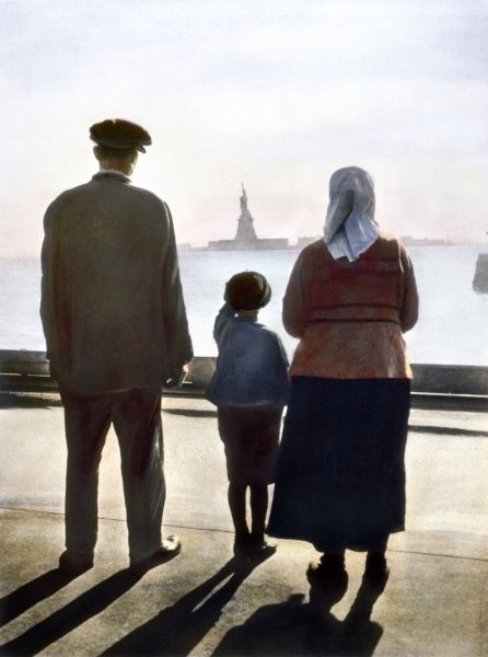 IMMIGRANTS: ELLIS ISLAND.  Immigrants to the United States at Ellis Island. Oil over a photograph, c1920