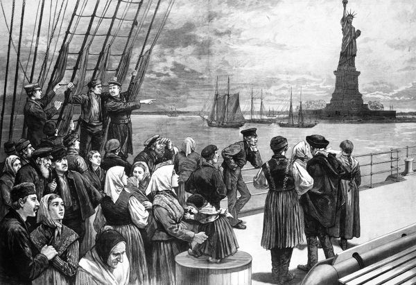 IMMIGRANTS ON SHIP, 1887. Immigrants on the steerage deck of an ocean steamer passing the Statue of Liberty in New York Harbor. Engraving, 1887