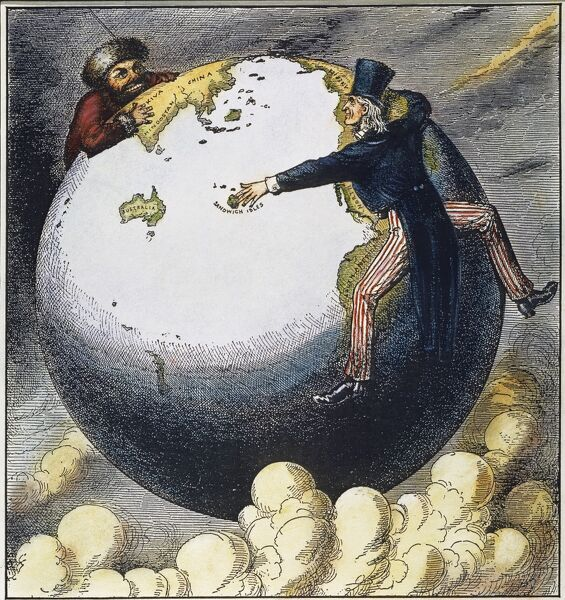 IMPERIALISM CARTOON, 1876.  'The Two Young Giants, Ivan and Jonathan, Reaching for Asia by Opposite Routes