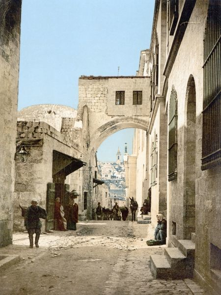 JERUSALEM: VIA DOLOROSA.  View of the Via Dolorosa and the Ecce Homo arch in the Muslim quarter of the Old City of Jerusalem. Photochrome, c1900