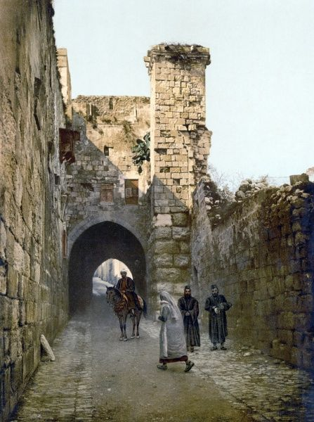 JERUSALEM: VIA DOLOROSA.  View of the Via Dolorosa and the remains of the Antonia fortress in the Old City of Jerusalem. Photochrome, c1900